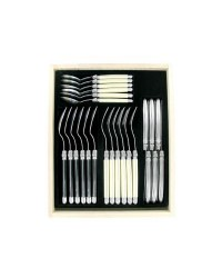 Andre Verdier Laguiole - 24 Piece Cutlery Set - Ivory/Stainless/Black